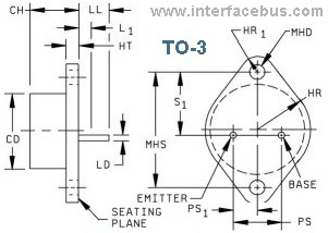 TO-3 Transistor Package Shape, Dimensions and Transistor Pinout