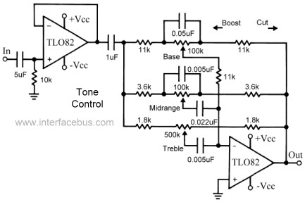 Tone Control 3 Band Tlo82 Op  Design on audio amplifier circuit diagram