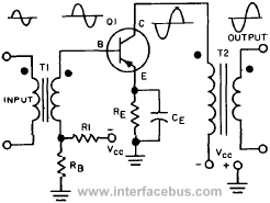 NPN Transistor audio circuit, Transformer Coupled Amplifier schematic