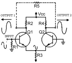 Single input differential transistor amplifier with differential outputs