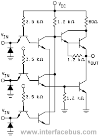TTL Triple Input NOR Gate Schematic