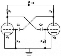 Astable Multivibrator using two vacuum tube triode amplifiers