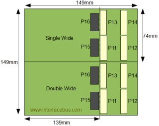 Single wide and double wide XMC board dimensions